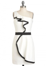 White dress with black trim and ruffles from ModCloth at Modcloth