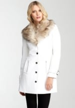 White fuax fur collar coat from Bebe at Bebe