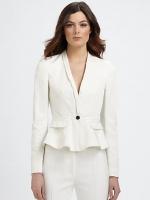 White peplum blazer by Burberry at Saks Fifth Avenue