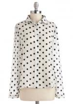 White polka dot shirt at Modcloth at Modcloth