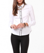 White shirt with black trim at Forever 21 at Forever 21