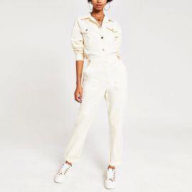 White twill utility boiler jumpsuit at River Island