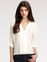 White vneck blouse by Joie at Saks Fifth Avenue
