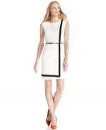 White wrap dress with black trim at Macys at Macys