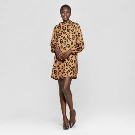 Who What Wear Leopard Print Long Sleeve Tie Shift Mini Dress at Target