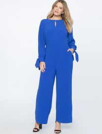 Wide Leg Jumpsuit with Tie Eloquii at Eloquii