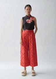 Wide Tailored Trouser W/ Marabou Trim at La Garconne