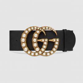 Wide leather belt with pearl Double G at Gucci
