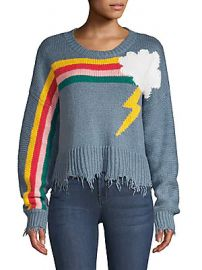 Wildfox - Rainbow Storm Fringe Hem Knit Sweater at Saks Off 5th