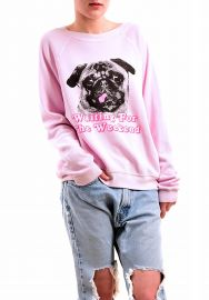 Wildfox Women s Woof Weekend Pug Sweatshirt at Amazon