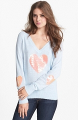 Wildfox and39Happy Heartand39 Sequin Sweater at Nordstrom