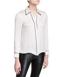 Willa Piped Placket Top by Alice  Olivia at Neiman Marcus