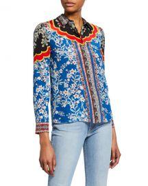 Willa Print Silk Shirt by Alice + Olivia at Neiman Marcus
