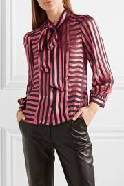 Willis pussy-bow striped satin and chiffon blouse at Net A Porter