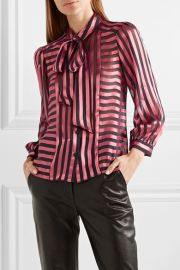 Willis pussy-bow striped satin Blouse by Alice + Olivia at Net A Porter