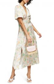 Willow Floral Angel Sleeve Satin Midi Dress at Nordstrom