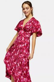 Willow Pink Floral Print Angel Sleeve Midi Dress at Topshop