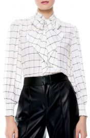 Windowpane Check Tie Neck Silk Blouse at Nordstrom