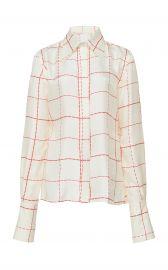 Windowpane Silk Crepe Scarf-Effect Blouse by Victoria Beckham at Moda Operandi