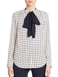 Windowpane Silk Tie-Neck Blouse by Michael Kors at Saks Fifth Avenue