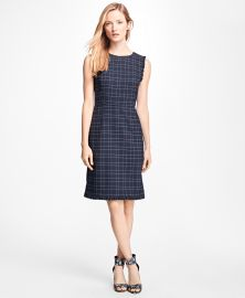 Windowpane Stretch Wool Hopsack Dress at Brooks Brothers