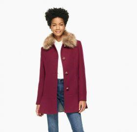 Wine Fur Collar Coat at Kate Spade