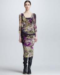 Winter Garden Print Surplice Dress by Jean Paul Gaultier at Neiman Marcus