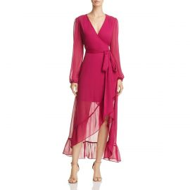 Magenta long sleeve wrap dress by Wayf at Bloomingdales
