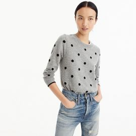 Women s Polka Dot Sweater In Everyday Cashmere at J. Crew
