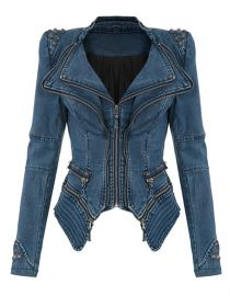 Women Slim Fit Studded Denim Jacket Punk Lapel Tuxedo Zipper Moto Blazer Jacket at Amazon