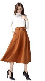 Women s Vintage High Waist Skirt A-line Flare Midi Skirt with Belt at Amazon