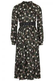 Woodland Floral Lattice Waist Dress at Topshop