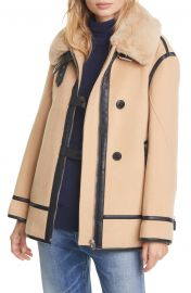 Wool Blend Moto Coat with Faux Fur Trim at Nordstrom