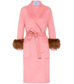 Wool, angora and cashgora fur-trimmed coat at Mytheresa