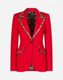 Wool Blazer With Leopard-Print Trim at Orchard Mile