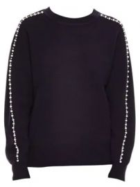 Wool Blend Embellished Crew Sweater by Sandro at Saks Fifth Avenue