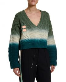 Wool-Cashmere Tie-Dye V-Neck Sweater by Off-White at Bergdorf Goodman