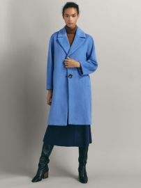 Wool Coat with Textured Weave at Massimo Dutti