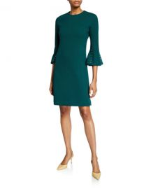 Wool Crepe Pearly Sleeve Tunic Dress at Last Call