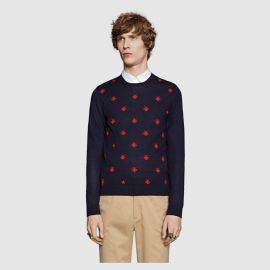 Wool Crew Neck with Bees and Stars at Gucci