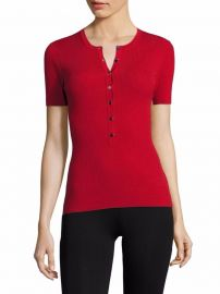Wool Henley Tee by Michael Kors Collection at Saks Fifth Avenue