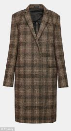 Wool Plaid Essential Coat at Theory