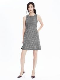 Wool Plaid Fit and Flare Dress at Banana Republic