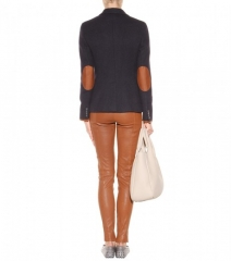 Wool and leather trim blazer by Ralph Lauren at My Theresa