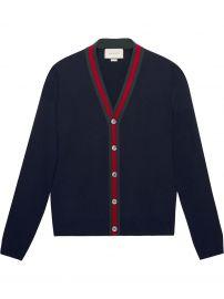 Wool cardigan with Web at Farfetch