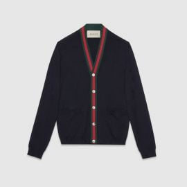 Wool cardigan with Web at Gucci