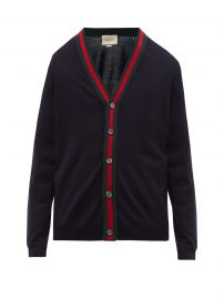 Wool cardigan with Web by Gucci at Matches