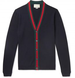 Wool cardigan with Web by Gucci at Mr Porter