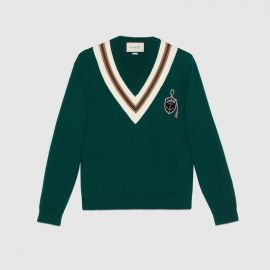 Wool sweater with anchor crest at Gucci