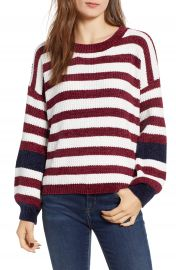 Woven Heart Stripe Crewneck Chenille Sweater   Nordstrom at Nordstrom